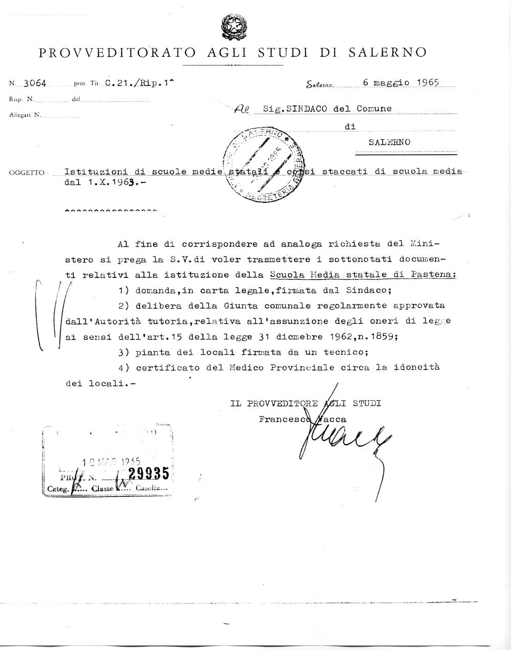 Richiesta di documentazione inerente l'istituzione della Scuola da parte del Provveditorato di Salerno (Archivio storico Comune di Salerno)
