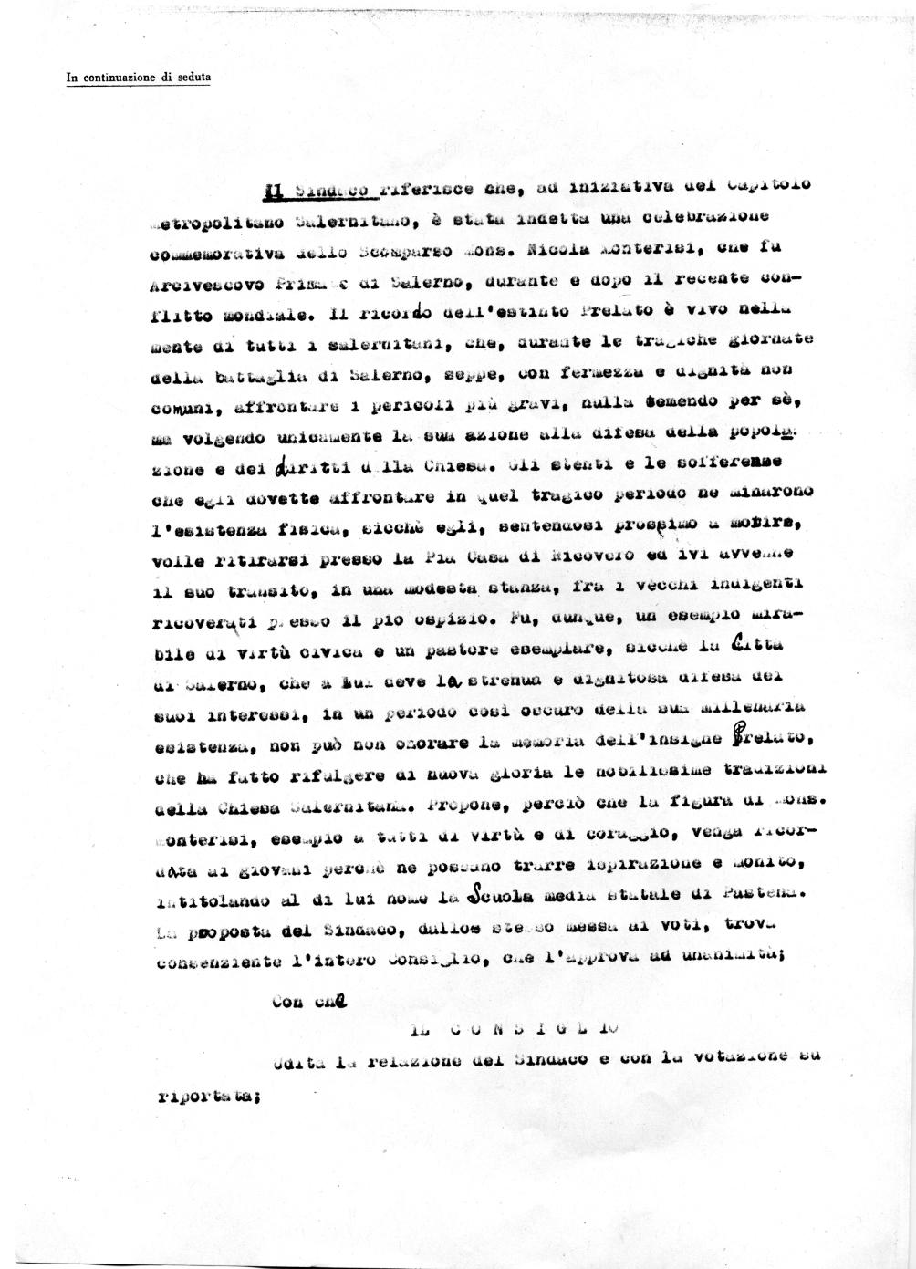 Delibera del Consiglio Comunale di Salerno del 23/03/1964 che propone l'intitolazione della Scuola Media Statale di Pastena al Mons. Nicola Monterisi (Archivio storico Comune di Salerno) 2