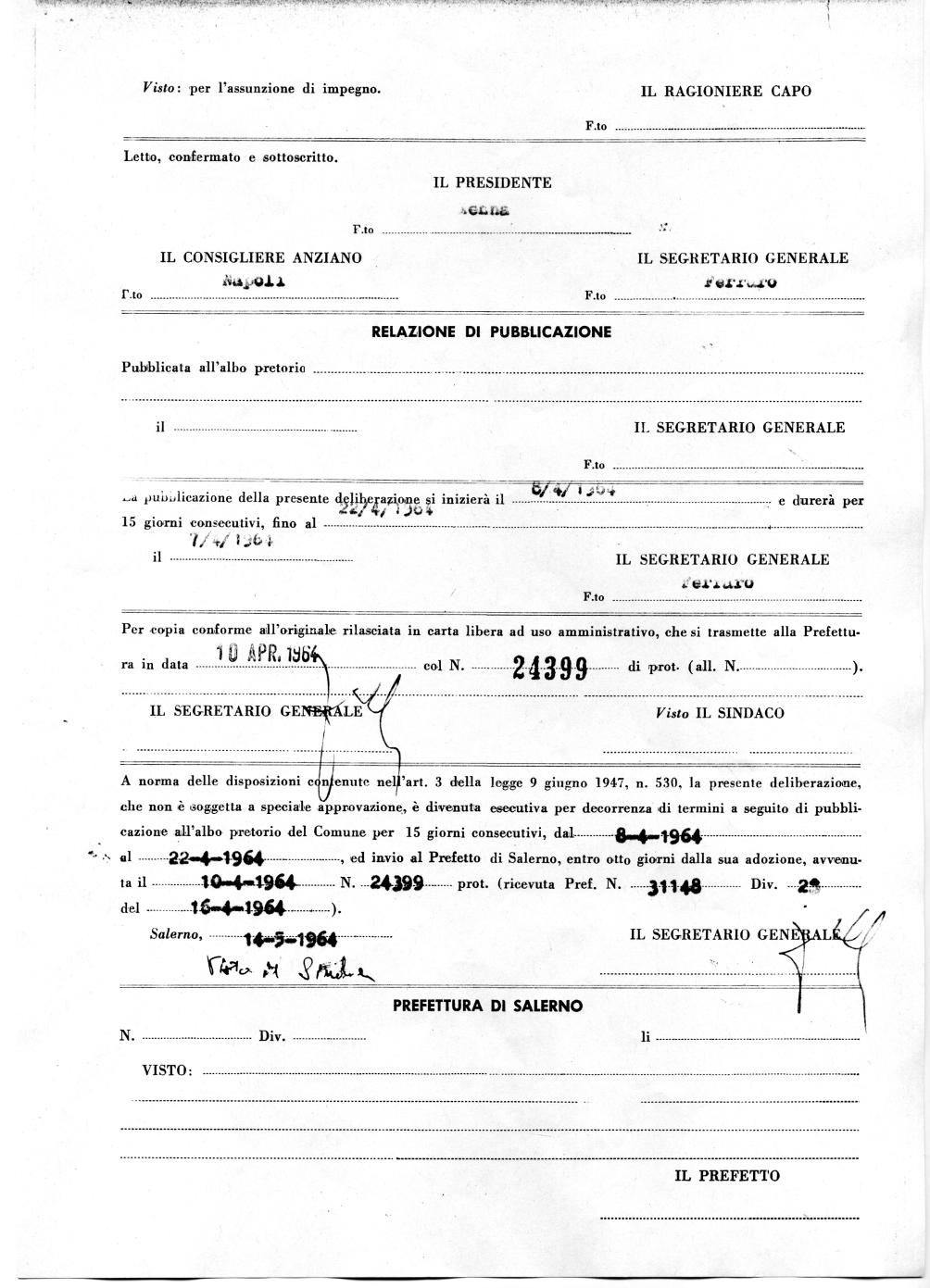 Delibera del Consiglio Comunale di Salerno del 23/03/1964 che propone l'intitolazione della Scuola Media Statale di Pastena al Mons. Nicola Monterisi (Archivio storico Comune di Salerno) 4