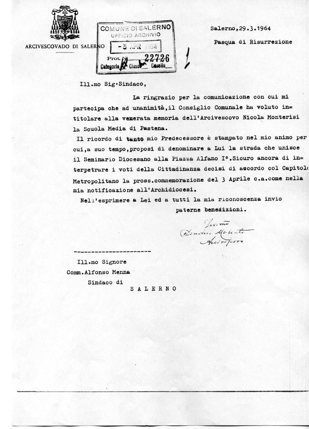 Lettera inviata da S.E. l'Arcivescovo di Salerno Mons. Demetrio Moscato al Sindaco di Salerno (Archivio storico Comune di Salerno)