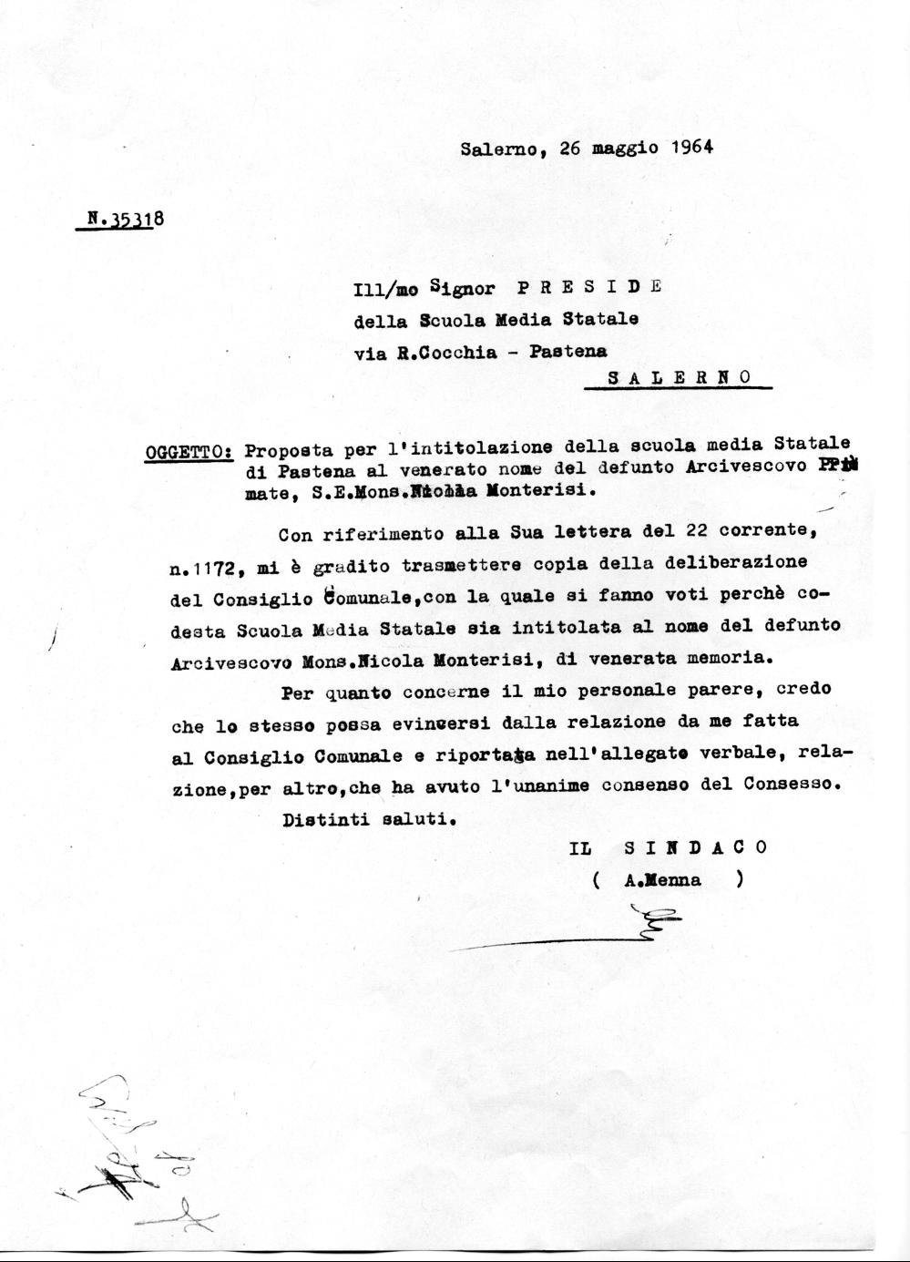 Trasmissione del verbale del Consiglio Comunale al Preside della scuola da parte del Sindaco di Salerno. (Archivio storico Comune di Salerno).