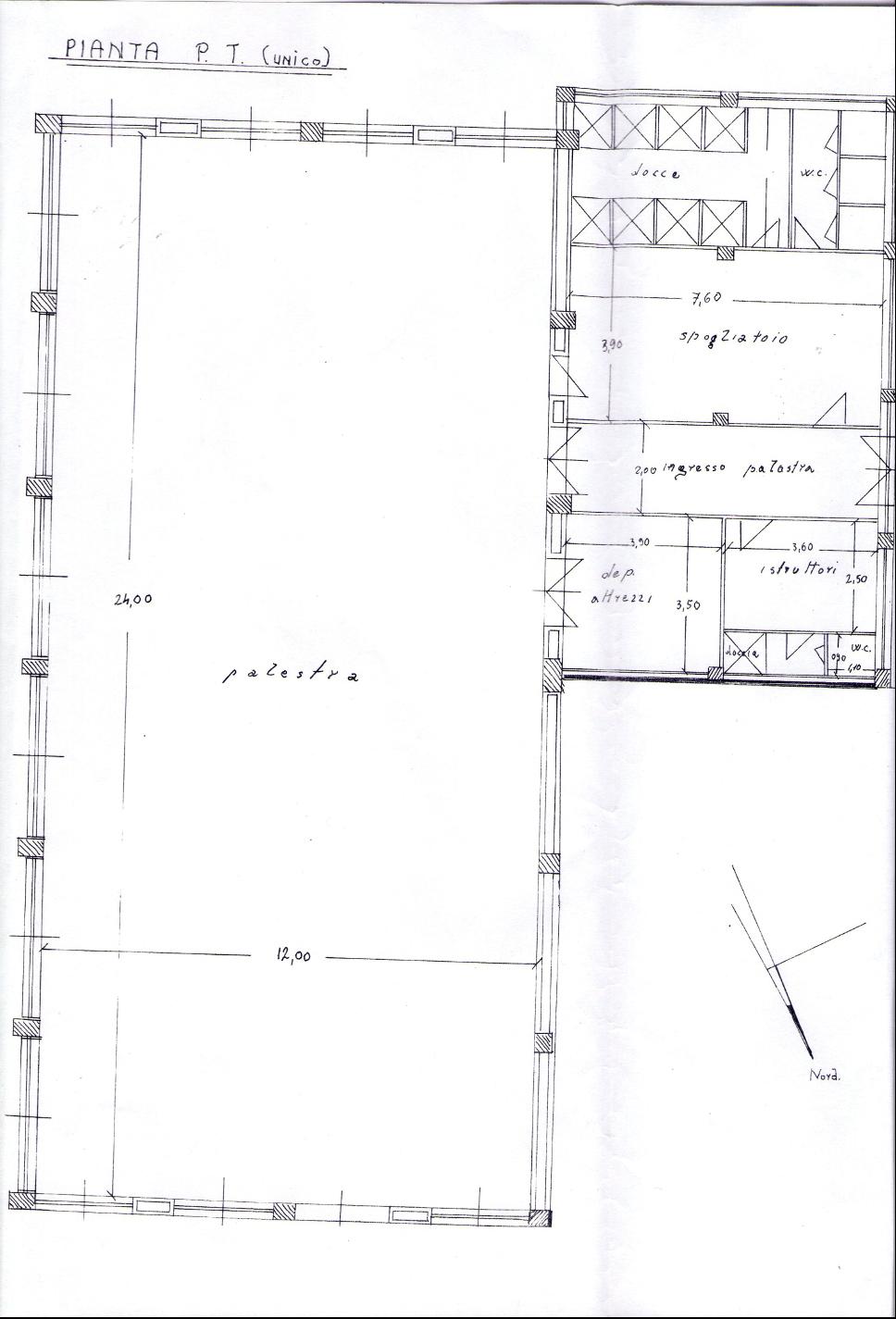Relazione tecnica e planimetria della palestra del 10/07/1967 (Archivio storico Comune di Salerno)